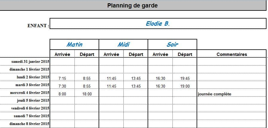 planning assistante maternelle