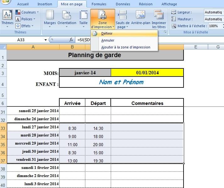 modele planning mensuel nounou