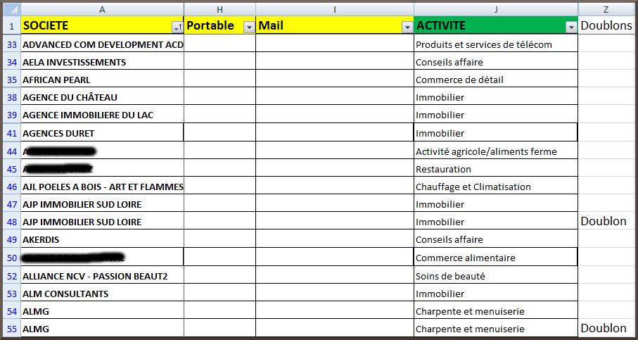 detecter des doublons Excel