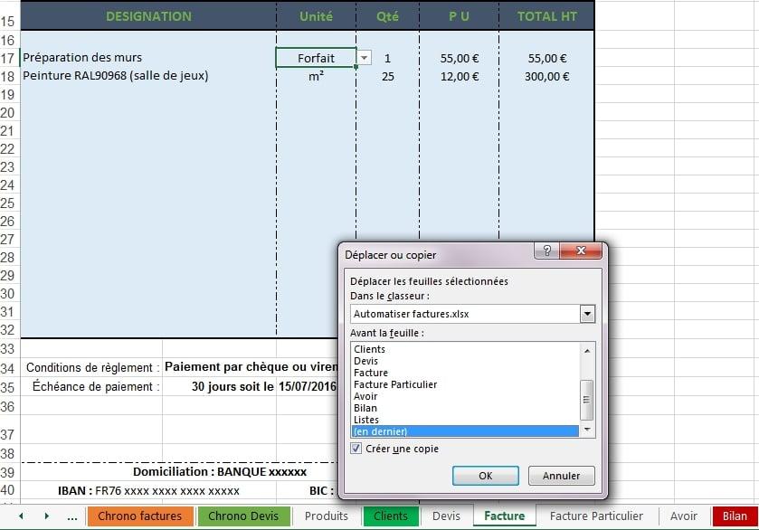 Excel double de facture
