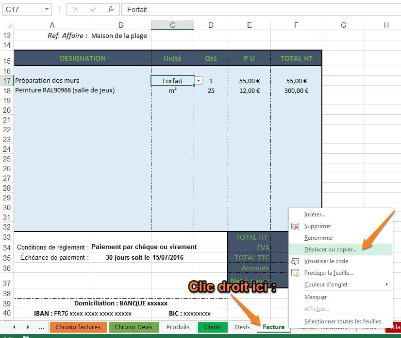 dupliquer une page sur Excel