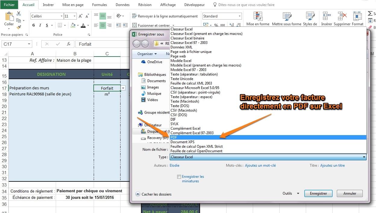 comment enregistrer en PDF sur Excel
