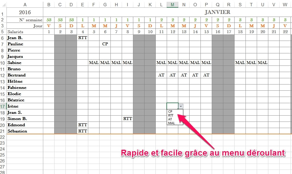 Tableau Excel Calendrier 2016 | Calendar Template 2016