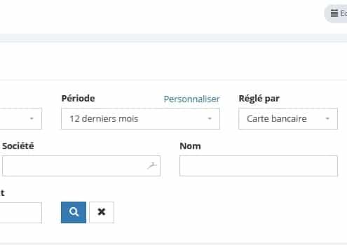 recherche et filtres des factures