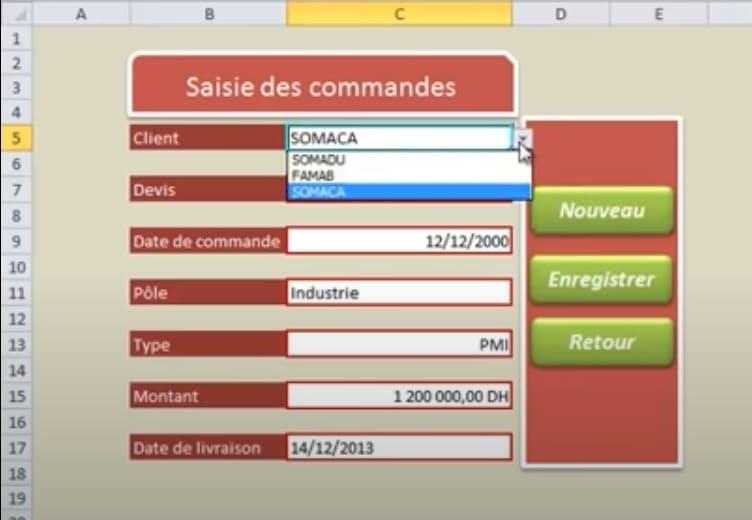 Formulaire Excel de saisie de commandes