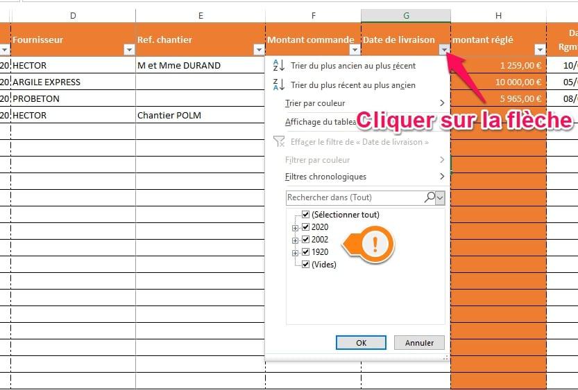 utiliser les filtres sur Excel pour controler les erreurs de saisies
