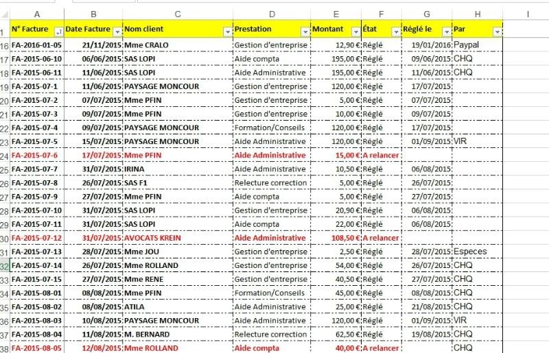Suivi facture sur Excel