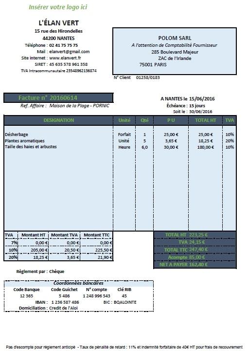 Exemple de facture auto entrepreneur for Auto entrepreneur entretien de jardin