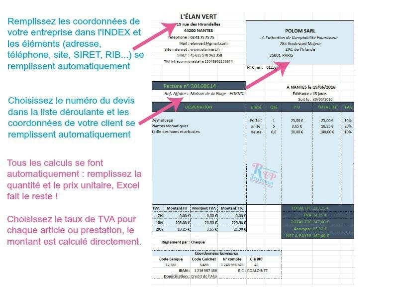 Super Pack Facturation sur ExcelExternalisez votre secrétariat avec REP  OX17