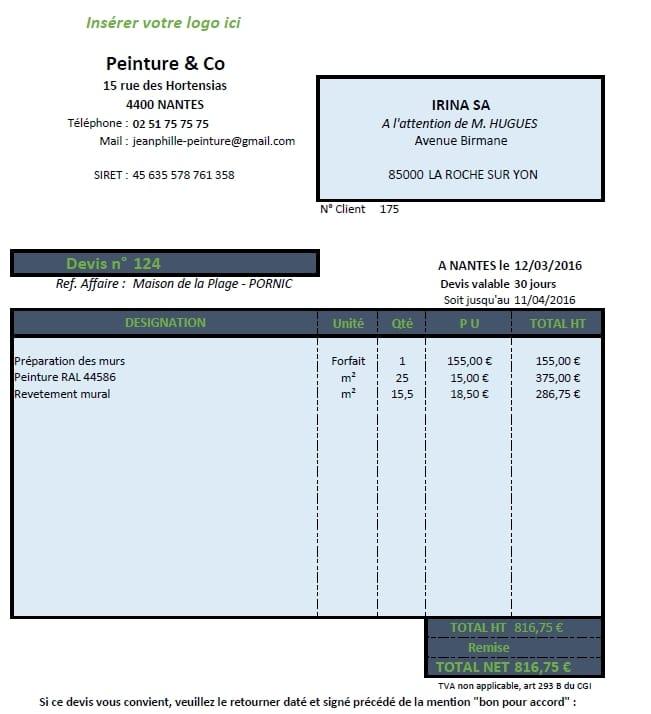 faire ses devis autoentreprise sur Excel