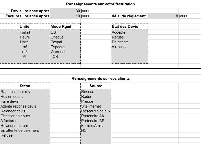 Exceptionnel Pack Facturation sur Excel sans TVAExternalisez votre secrétariat  GB55