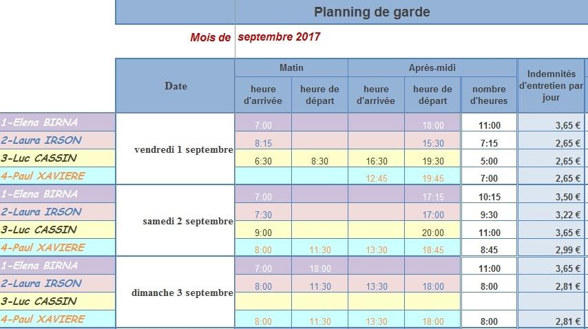 Bien-aimé Planning de Presence PAJEMPLOI V4 pour ASSMAT (4 enfants  DN75