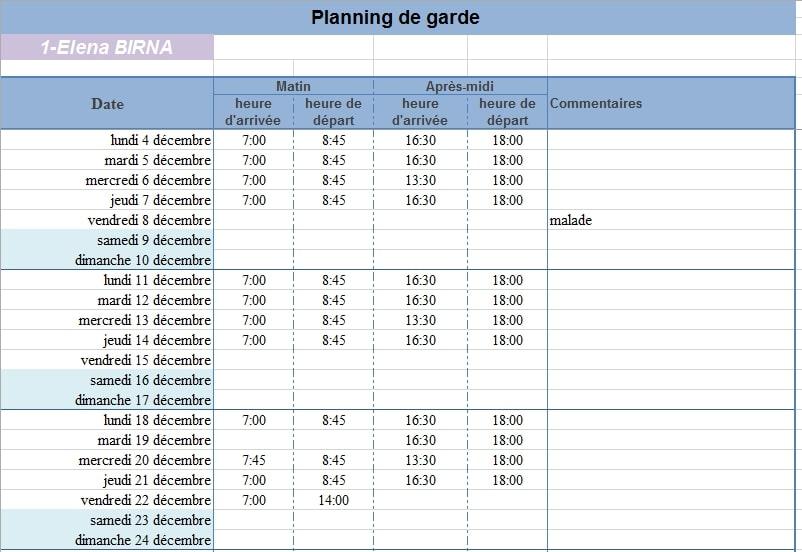 Planning de presence pour plusieurs enfants