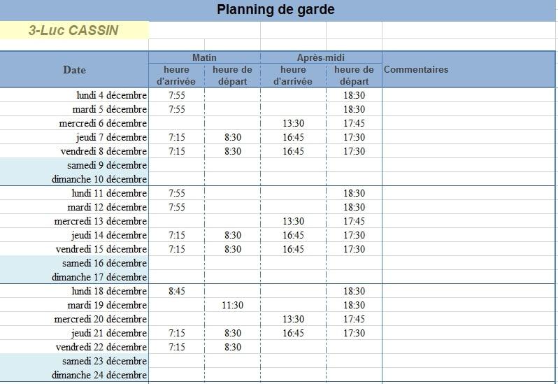 Assez Planning de Presence PAJEMPLOI V4 pour ASSMAT (4 enfants) TS87