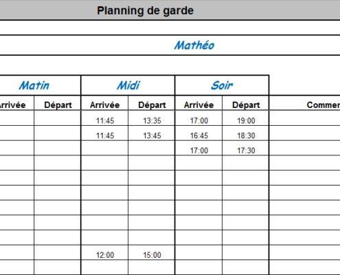 calendrier de garde pour assistante maternelle