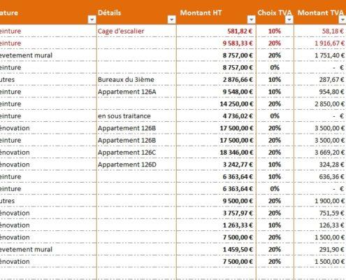 tableau des factures clients sur excel