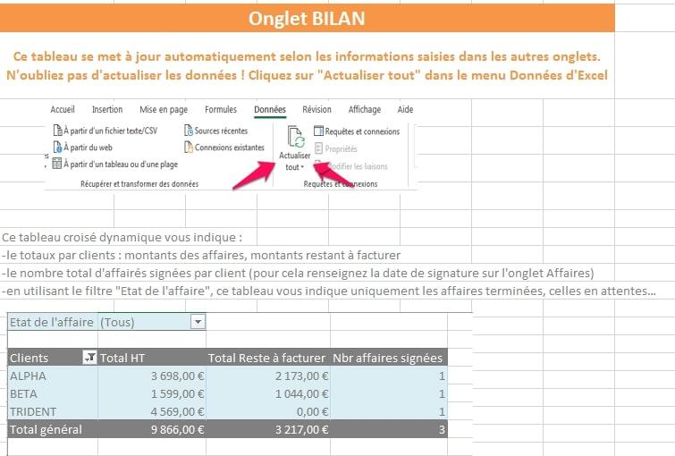 bilan des affaires sur Excel