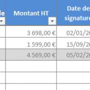 Suivi des affaires sur Excel